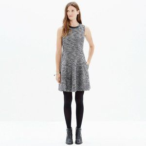 Madewell The Anywhere Dress In Tweed Leather Trim